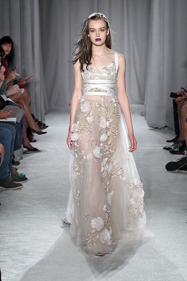 <strong>Marchesa SS14</strong><br><br> Nothing beats Marchesa when it comes to dreamy, romantic gowns. We imagine Kim pairing this look with a flowered headpiece and bare feet.