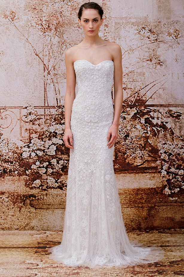 <strong>Monique Lhuillier Bridal 14</strong><br><br> Should Kim opt for a low-key affair (as Kanye seems to prefer), we're betting this understated gown would be the perfect choice.