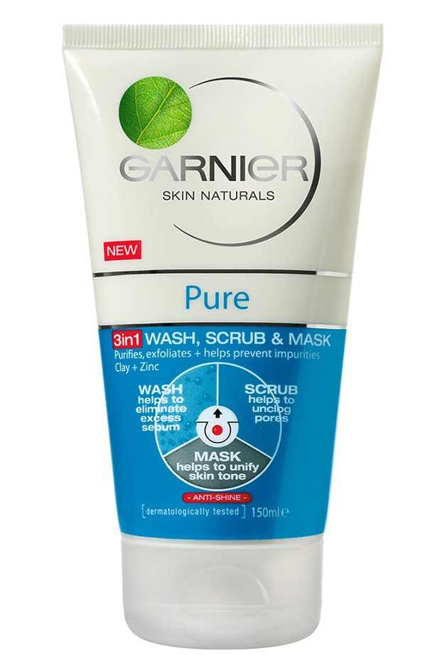 3 in 1 Wash + Scrub + Mask, $10.99, Garnier, garnier.com.au Banish breakouts and simplify your skincare routine with this 3-in-1 product. It can be used as a daily cleanser, scrub and mattifying mask to unclog pores and purify skin.