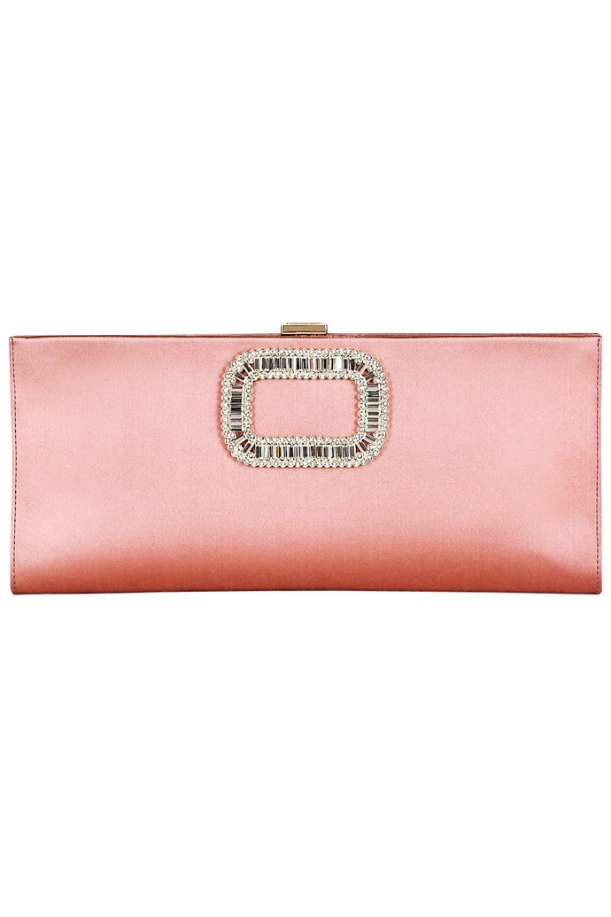 This number is spot on for a little Oaks Day femme. Clutch, appox $1,899, Roger Vivier, luisaviaroma.com