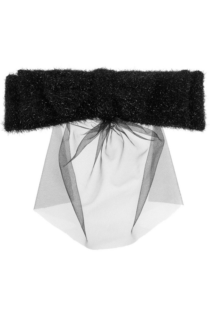 Take a tongue-in-cheek route with your headwear and give a veil a whirl. Veil, $278.62, Simone Rocha, net-a-porter.com