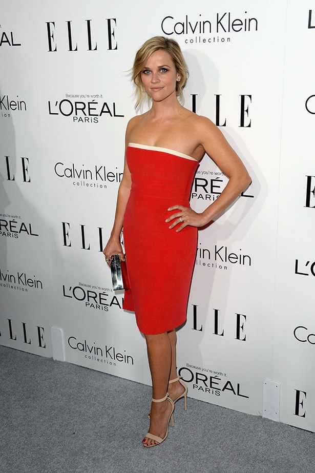 Reese Witherspoon looked stunning in a strapless red dress matched with nude heels.
