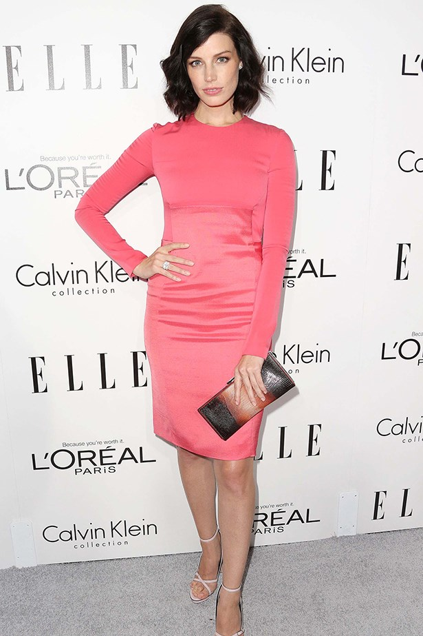 Jessica Paré opted for a vivid melon pink Calvin Klein dress.