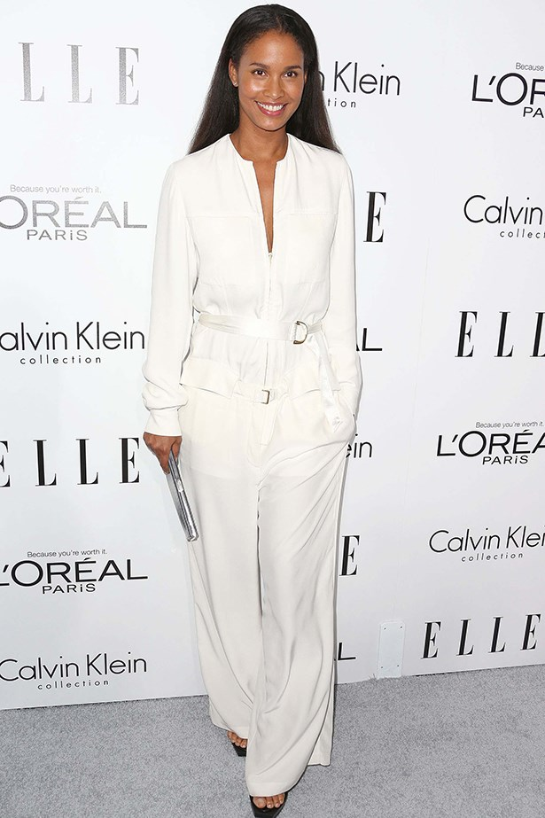 Joy Bryant wore an all-white suit by Calvin Klein Collection.
