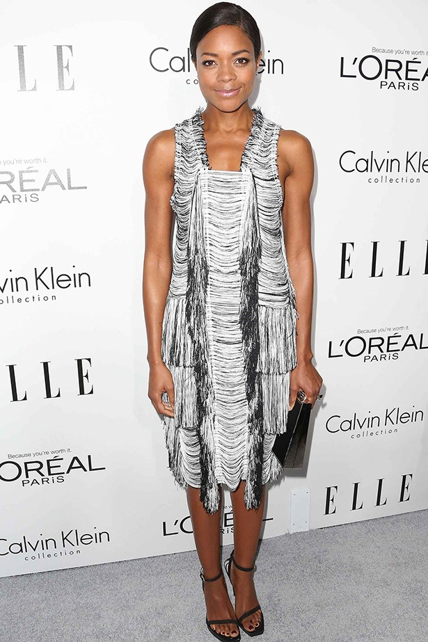 Naomie Harris stood out from the crowd in a monochrome 1920s style dress.