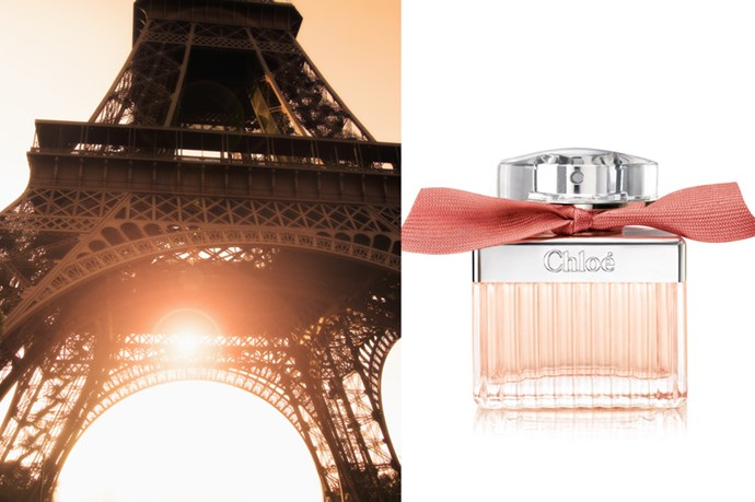 """<p><strong>Paris</strong>: Roses De Chloé, $100 (50ml), Chloé, <a href=""""www.myer.com.au"""">myer.com.au</a></p> <p>A romantic at heart, Roses De Chloé, by Chloé is the perfect fragrance to take on your next holiday to France. Just like the city of love, the scent is alluring, elegant and full of kisses. </p>"""
