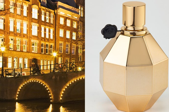 """<p><strong>Amsterdam</strong>: Flowerbomb Rose Explosion, $205 (100ml) , Vikto & Rolf, <a href=""""http://myer.com.au"""">myer.com.au</a></p> <p>More gilt than guilty, Viktor & Rolf's Flowerbomb Rose Explosion takes you on a flamboyant and exhilarating trail of opulence. Go on location in the Netherlands with this beauty for a rich, racy and intense smoky experience. </p>"""