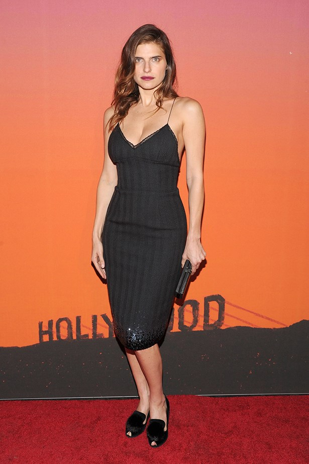 Lake Bell wore a 90s style Louis Vuitton dress with matching loafers.