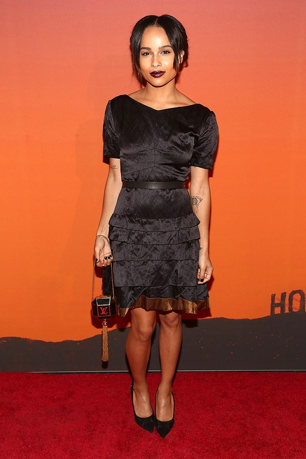Zoe Kravitz kept to her rock-n-roll roots and edged up her outfit with a dark lip.