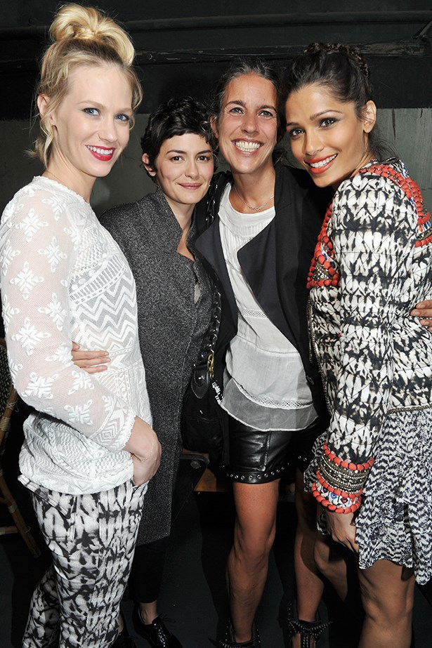 <p>Audrey Tautou, January Jones, Freida Pinto and designer Isabel Marant at the Paris launch of the collection. </p>