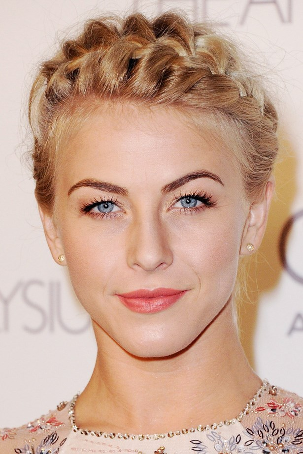 Imperfect milkmaid braids are the perfect remedy to the regular up 'do. Julianne Hough shows off this style paired with simple makeup at the 6th Annual Heaven Gala.
