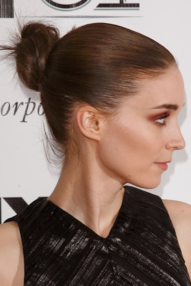 Rooney Mara rocks a sleek and sophisticated top knot at the New York Film Festival, perfectly complementing her angular features.