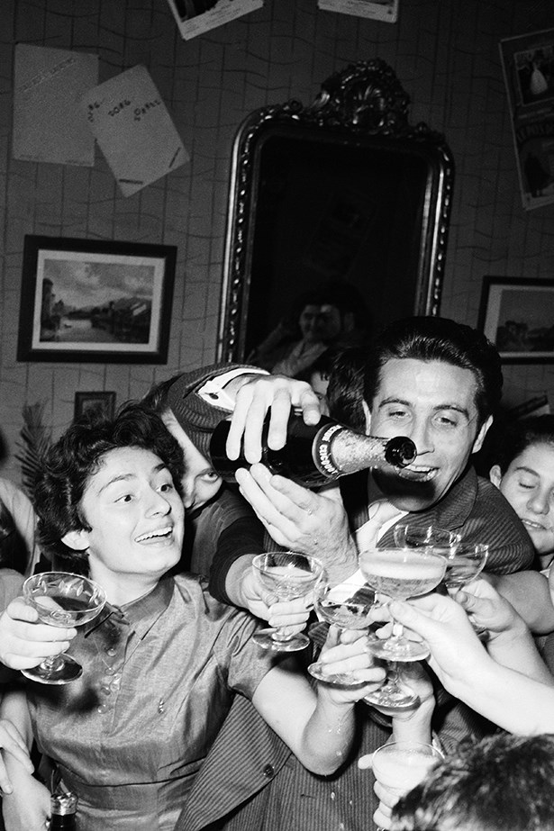 """<p><strong>Genevieve Smart</strong>: """"You will always maintain your polish if you remember this simple rule: one water, one champagne.""""</p> <p>1957 -The Singer Gilbert Becaud Serving Champagne After His Singing Concert.</p>"""