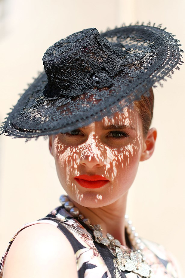 """<p><strong>Genevieve Smart</strong>: """"Fresh minimal makeup for the daylight always works. Remember it's a day event... not a nightclub.""""</p> <p>A model showcases race wear during the Melbourne Cup Carnival Spring Fashion Moment at The Mint Cafe on September 23, 2013 in Sydney, Australia</p>"""
