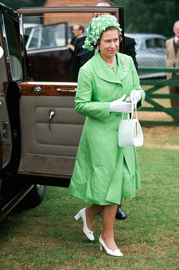 """<p><strong>Bianca Spender</strong>: """"Avoid stilettos on the grass – I hate that sinking feeling. Try and match the horses in their elegance and beauty.""""</p> <p>1973 Queen Elizabeth II Arriving Polo At Smiths Lawn Windsor After Ascot Races Wearing A Silk Mint Green Coat And Matching Dress With A Green And White Hat Designed By Milliner Simone Mirman</p>"""