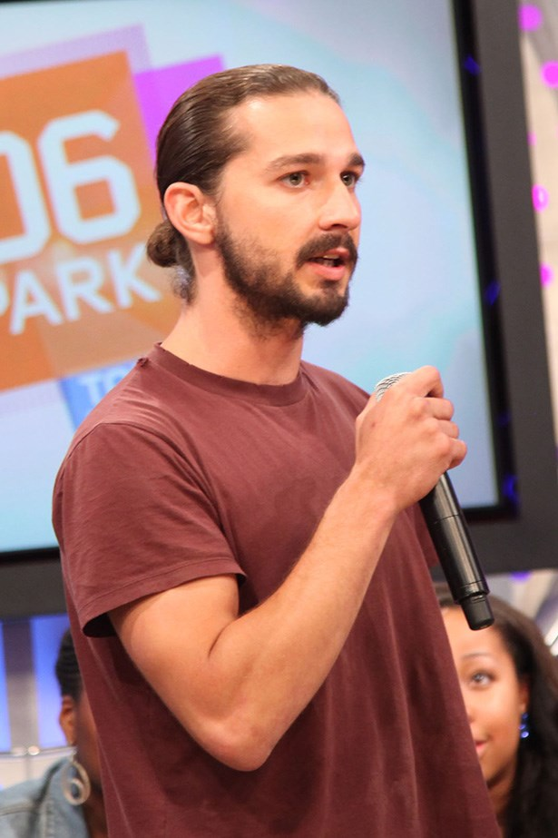 "Shia LaBeouf's man-knot and beard combo says ""I'm a man – a rugged one."""