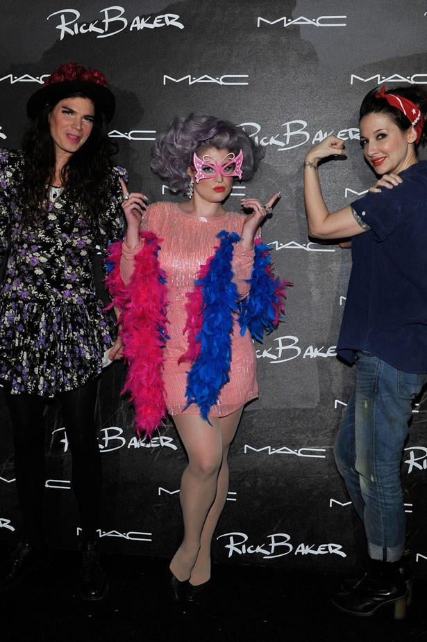 Kelly Osbourne looked fab as Dame Edna while her fiance Matthew Mosshart went in drag as Blossom