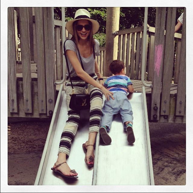 """So much fun with my little love"" FYI: Miranda says even running around after her son Flyn is a workout in itself"