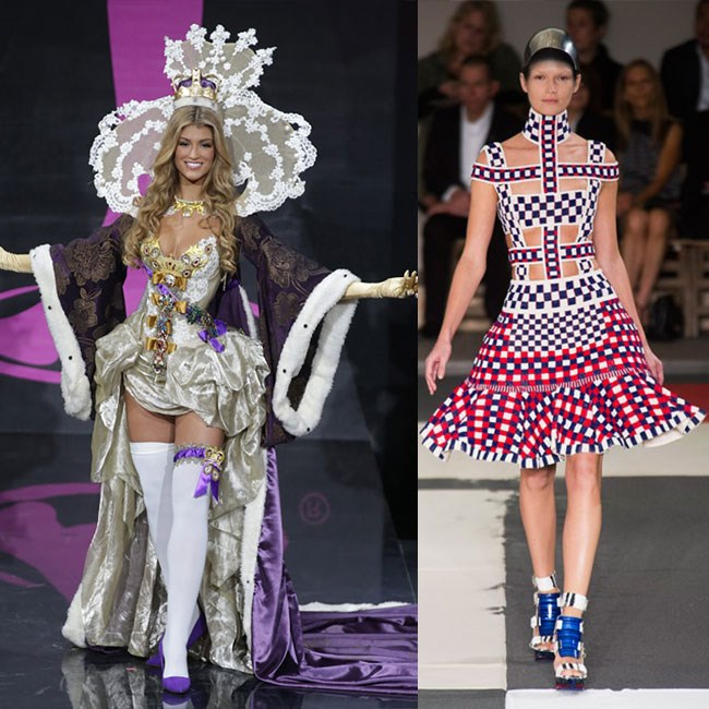 <strong>MISS GREAT BRITAIN</strong>: Miss Brit's costume is the most confusing one we've seen, since she seems to be channelling a sauced-up version of Marie Antoinette. An Austrian who married into the French royal family? Not very English. We'd rather see her wear the ultimate iconic label of the United Kingdom – Alexander McQueen. For spring/summer 14, she can even flaunt the colours of the Union Jack.