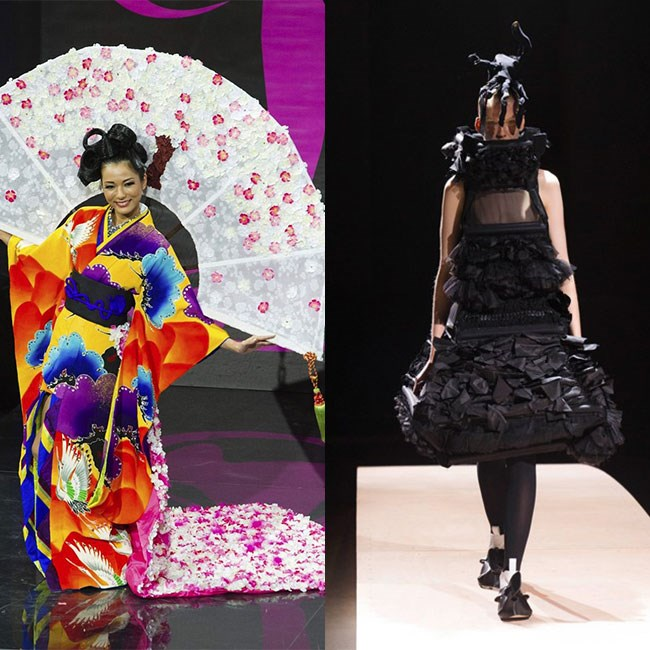 <strong>MISS JAPAN</strong>: While it's fun to be offered a glow stick in your matcha halfway through a sado tea ceremony, it would be great if Miss Japan could put the raver-geisha theme on the shelf for just one year and go with something… darker. Rei Kawakubo's challenging designs are every bit as Japanese as kimonos, so we'd like her to try Comme Des Garçons.