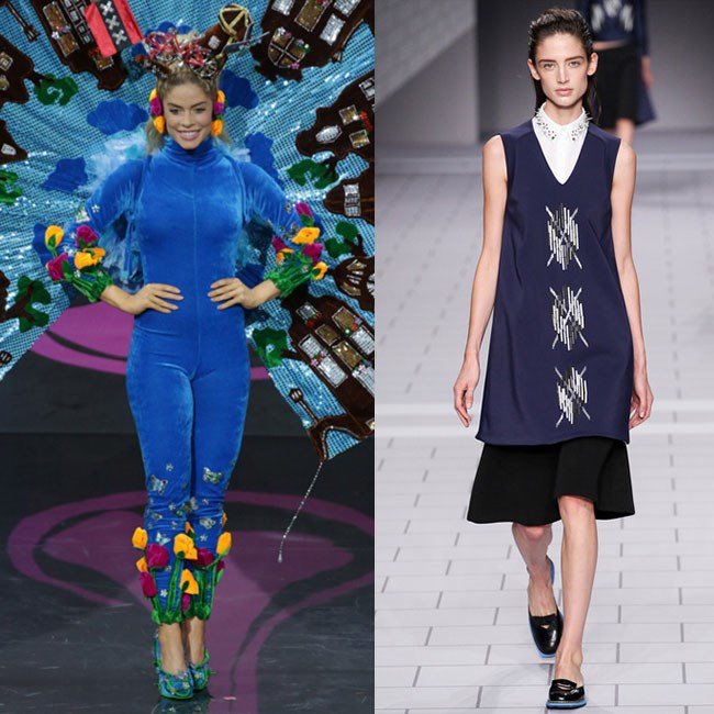 MISS NETHERLANDS: No self-respecting Dutch woman would be caught dead with tulips on her ankles and a windmill on her head. Instead, she should channel the classic – almost puritan – shapes of Viktor & Rolf SS13, with a touch of silver, spikes and chevrons to speak to her modern ambitions.
