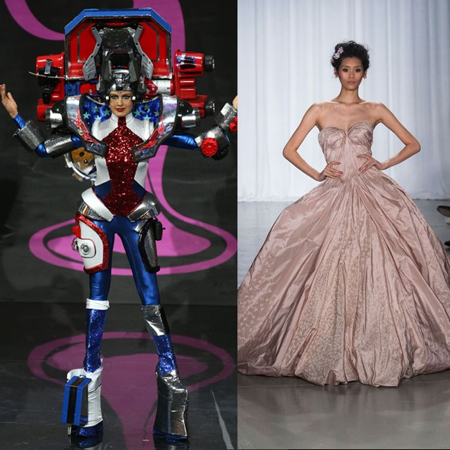 MISS USA: Giant mecha robots are about as American as apple pie. No, not really. You know what is American though? Prom queens. And that's all we want to see on the Miss USA runway. Zac Posen is the king of the prom queens, and this dress is perfect.