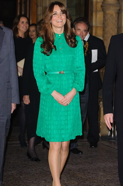 Kate Middleton wears green Mulberry dress