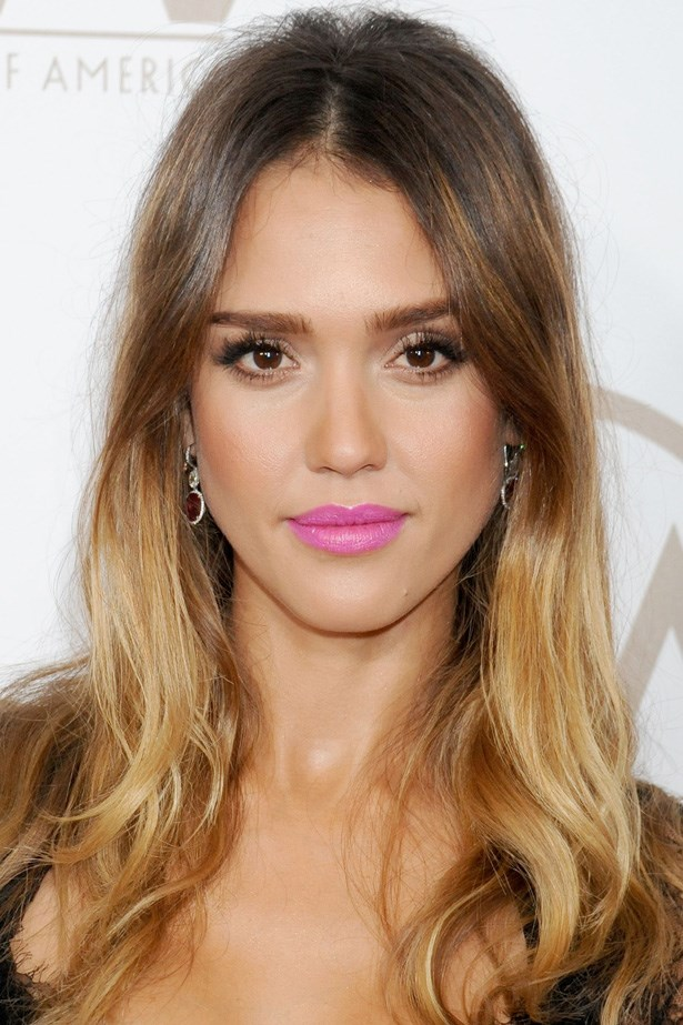 Jessica Alba rocks pastel pink with a bronzed complexion at the Producer's Guild Awards.