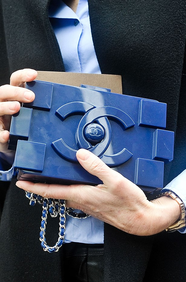 The Chanel Lego clutch spotted outside the Donna Karan show in New York.