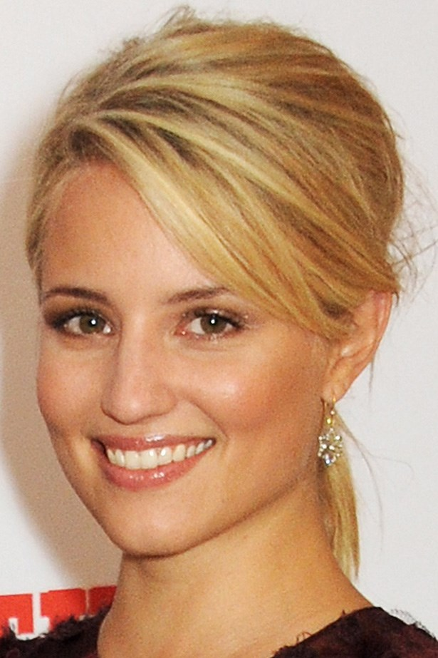 Actress Dianna Agron's messy volume and pony combo is easy and pretty.