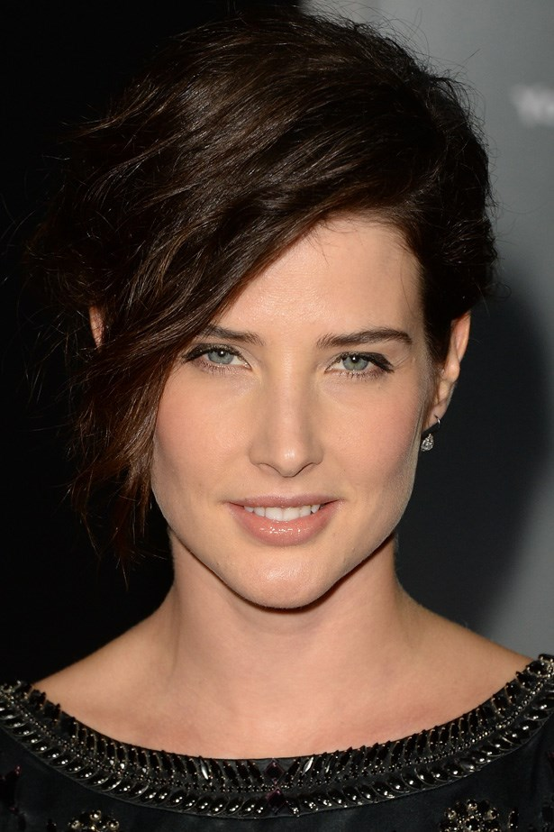 Actress Cobie Smulders' thick hair looks done but not too fussy at an LA film premiere.