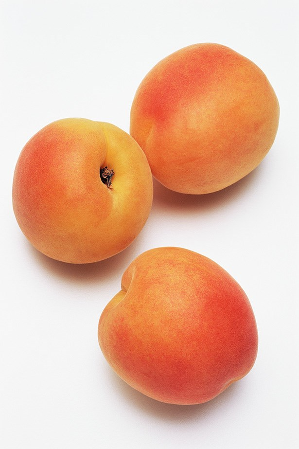 Apricot:  As an orange fruit, these soft-fleshed wonders are full of Vitamin A and beta-carotene, which inhibits pro-inflammatory activity in the body. The apricot's healing properties have made it a regular ingredient in blemish scrubs.
