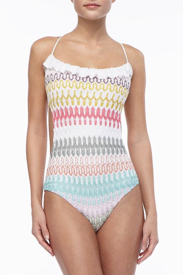 "Swimsuit, $723, Missoni, <a href=""http://www.neimanmarcus.com/Missoni-Ruffle-Trim-Patterned-One-Piece/prod161870053/p.prod"">neimanmarcus.com</a>"