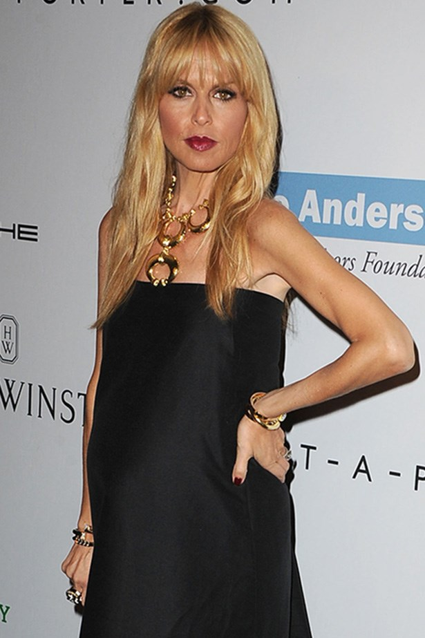 Style icon Rachel Zoe embraces a plum lip and dark lined eyes.