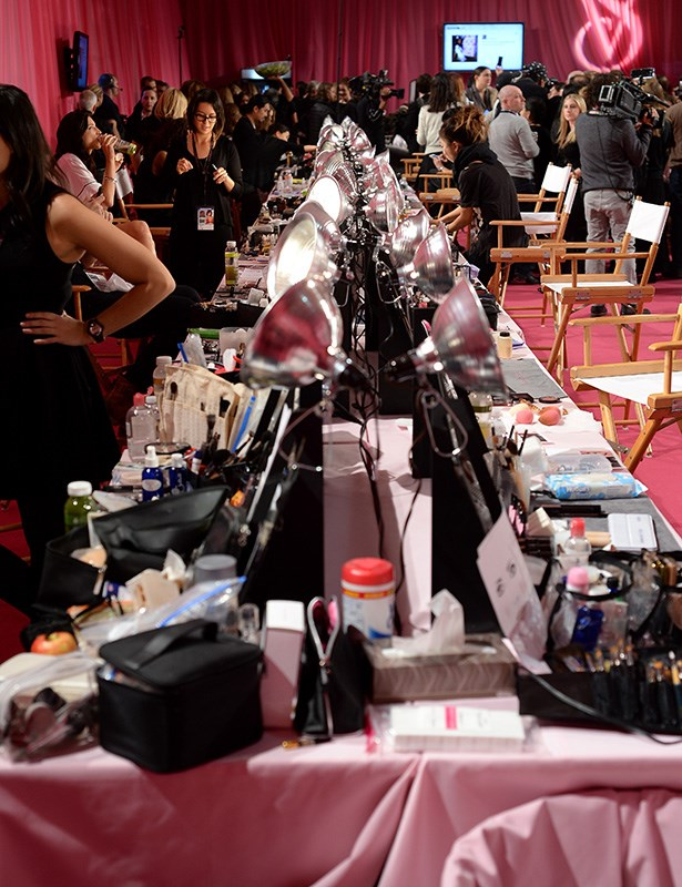 The busy hair and make-up stations backstage