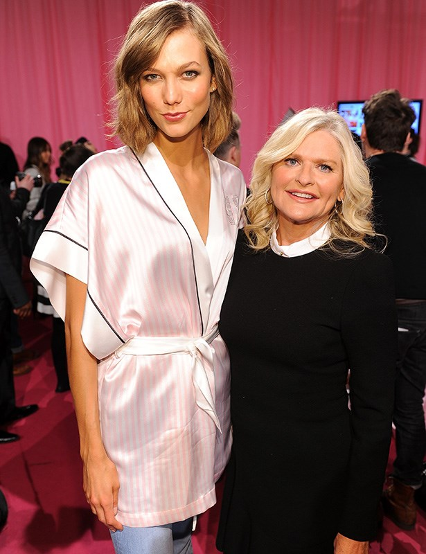 Karlie Kloss backstage with Victoria's Secret CEO and president Sharen Turney