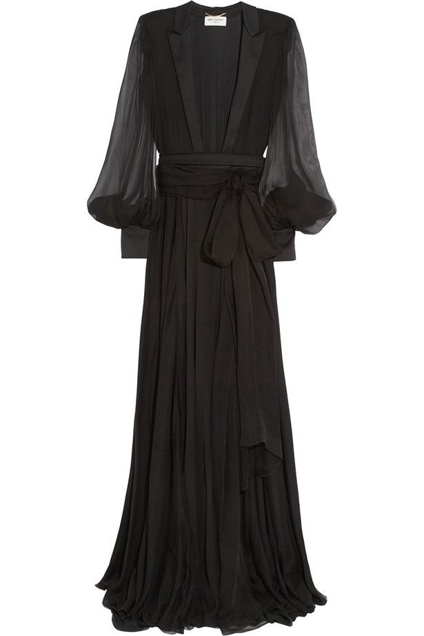 "Belted chiffon gown, $9,498, Saint Laurent, <a href=""http://www.net-a-porter.com"">net-a-porter.com</a>"