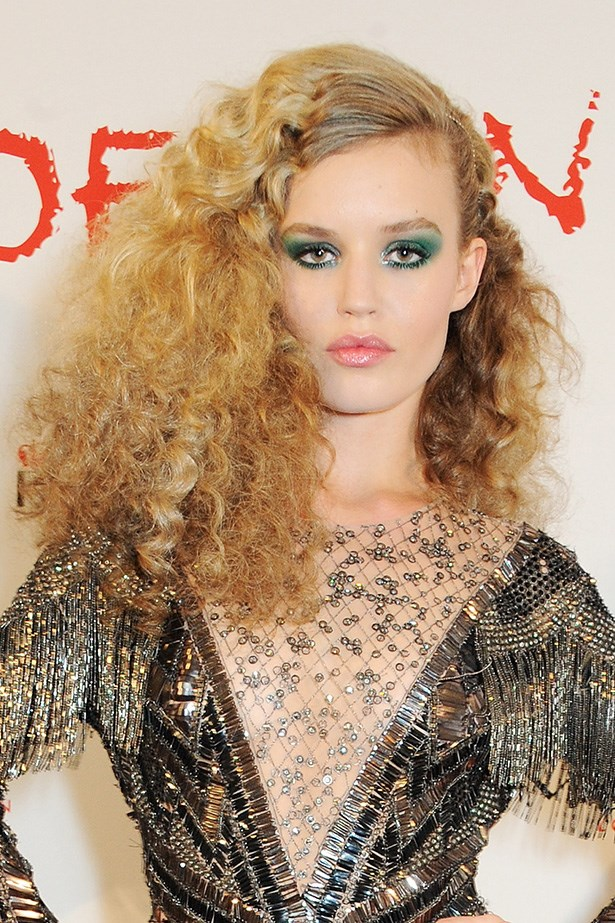 At Rimmel's 180 Years of Cool Party, Georgia May Jagger went rock chic with big side swept hair and plenty of blue eye shadow.
