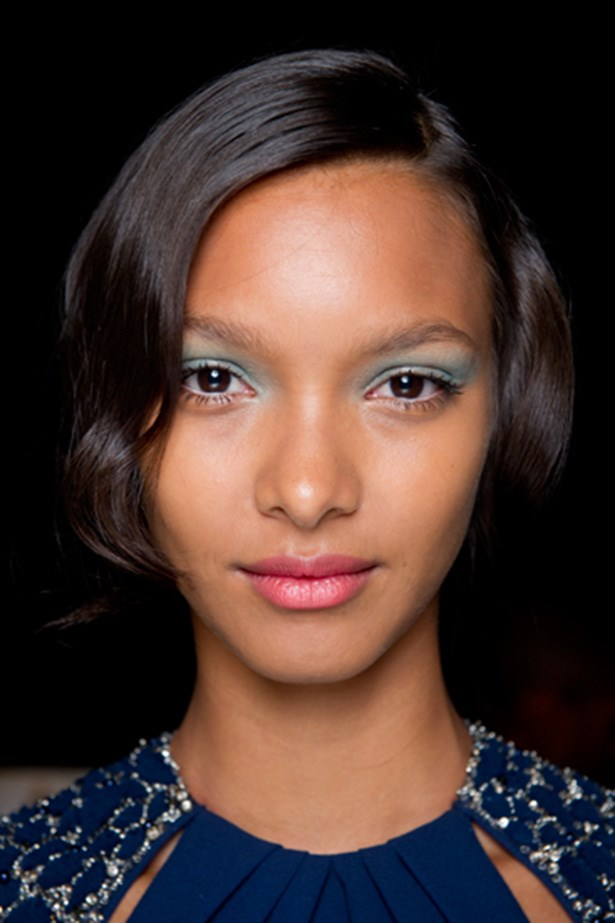 Chalky, translucent blue eye shadow at Badgley Mischka's SS14 show was romantic and soft.