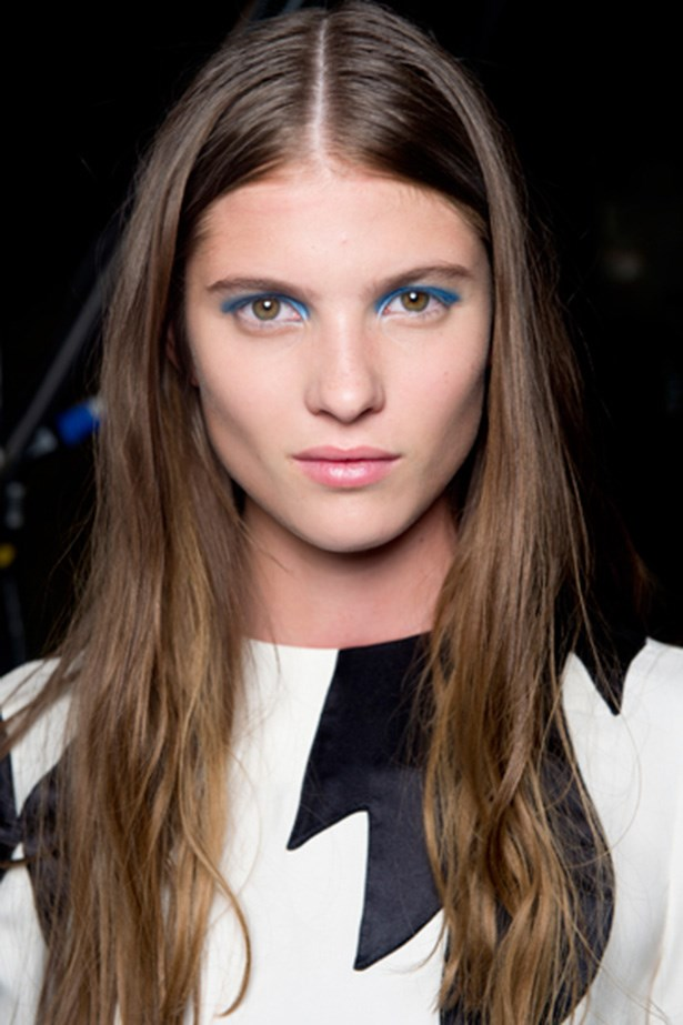 The SS14 beauty look at Marc by Marc Jacobs was all about high pigmented blue liner and a futuristic silhouette across the eyelid.