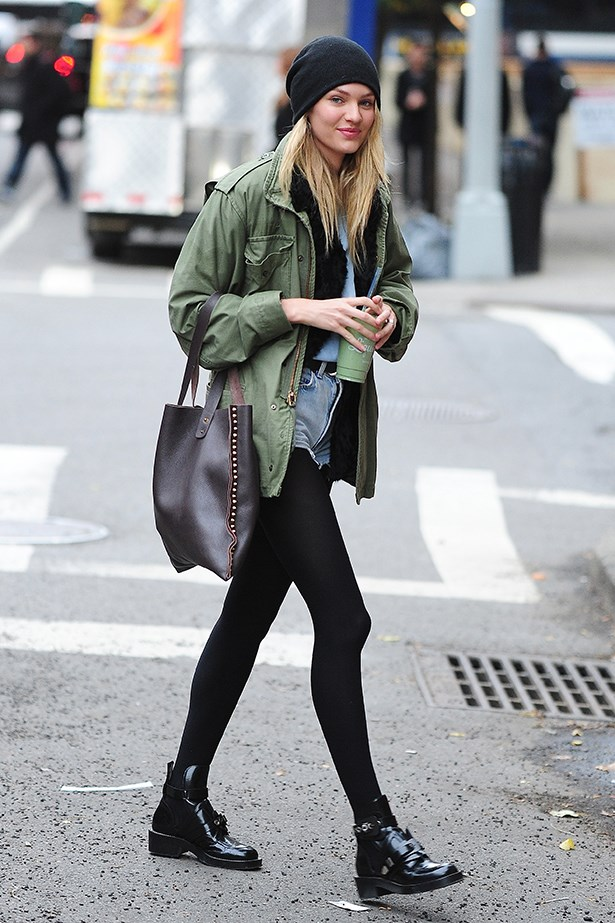 Victoria's Secret model Candice Swanepoel proves she doesn't need a $10 million diamond bra to stand out. The South African star stepped out in an anorak and denim shorts in New York City.
