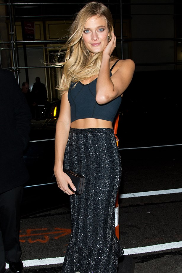 Constance Jablonski arrived at the Victoria's Secret Fashion show in an understated maxi skirt and navy bodice.
