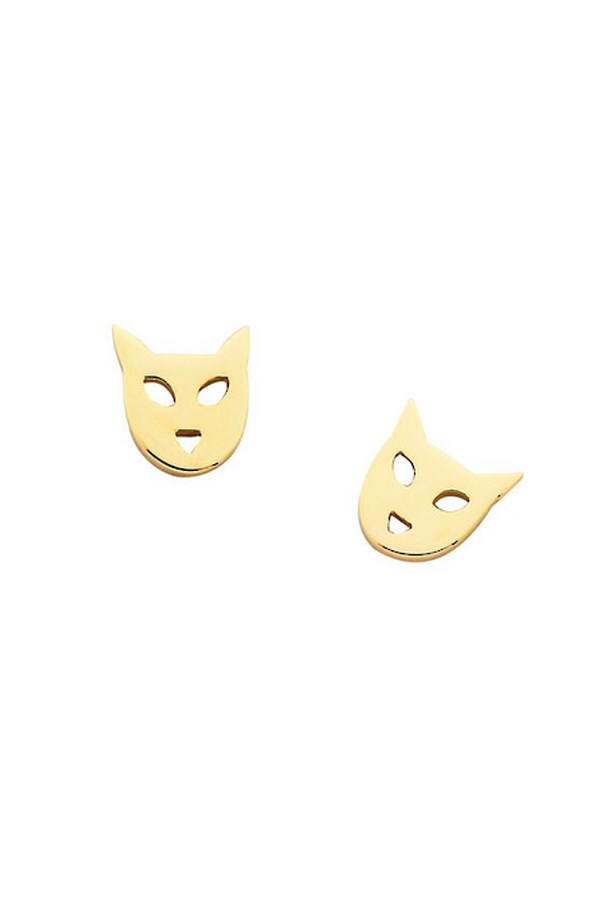"<p>You can wear cats in your ears as well as over them. Karen Walker's super-fine kitty earrings are adorable. You can also get cat-faced pendants and rings. </p> <p>Shop here: <a href=""http://www.karenwalker.com/Mini-Cat-Studs-Gold-P1557.aspx"">karenwalker.com</a></p>"
