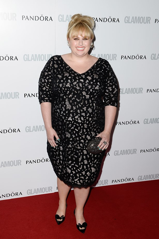 <p><strong>Rebel Wilson </strong></p> <p>Renowned for her wacky outfits (think leather catsuit), the comedienne appears to be scaling back on the outrageousness barometer, donning a demure outfit for a recent London fashion awards event. The 27-year-old wore a black-and-gold Marina Rinaldi dress paired with cute black heels. With her hair in a <em>Mad Men</em>-esque up-do, the <em>Bridesmaids</em> star looked the picture of style and elegance.</p>