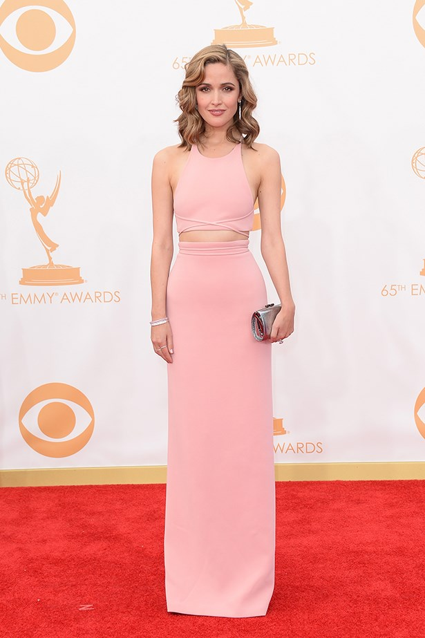 """<p><strong>Rose Byrne </strong></p> <p>She frequently tops best-dressed lists, including at this year's Emmy's, where she smouldered in a sexy Calvin Klein Collection petal-pink top and skirt. A silver Jimmy Choo """"Tube"""" clutch, Tiffany & Co. jewels, Charlotte Olympia peep-toes and a dark pink lip were the perfect accessories as the actress debuted her new look – honey locks. </p> <p>She was spotted last week in New York's SoHo district with her actor boyfriend, Bobby Cannavale, taking a break from filming the movie <em>Annie</em> with Jamie Foxx. </p>"""