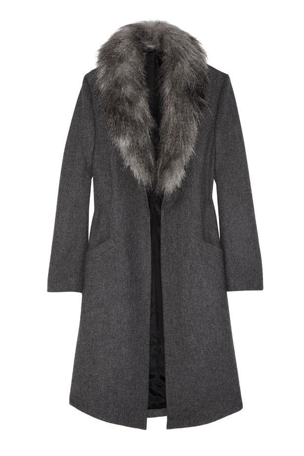 Faux fur-trimmed wool coat for Net-A-Porter