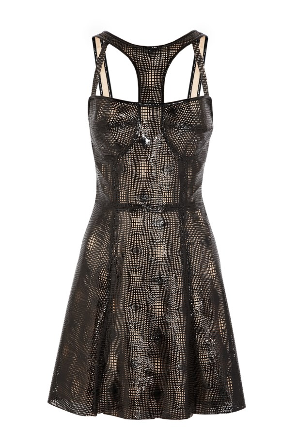 Laser-cut patent leather dress for Net-A-Porter