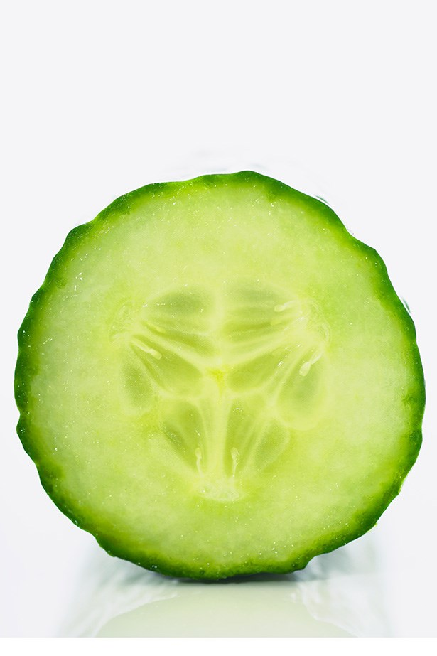 Cucumber - As well as treating inflamed skin, cucumber's dietary fibre and high level of erespin (which helps break down proteins) makes it the superhero of digestive health.