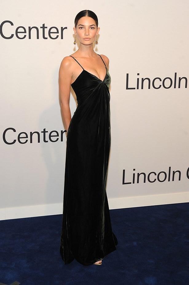 Aldridge looks polished and minimalistic in this velvet slip dress.