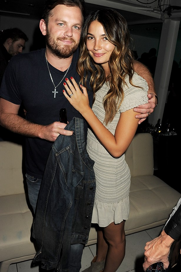 Aldridge with her husband Caleb Followill wearing an Isabel Marant dress and boots.